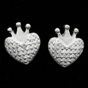 MCER1061 - Silver Micropave CZ Crown Heart Stud Earrings