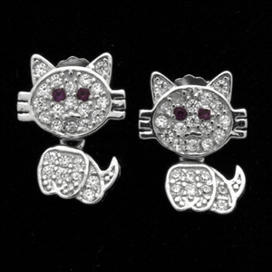 MCER1063-RE - Silver Micropave CZ Cat Blue Eyes Earrings