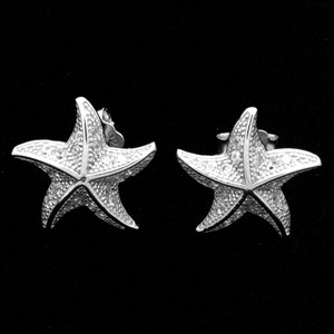 MCER1064-Silver Micropave CZ Starfish Stud Earrings