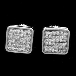 MCER1065-Silver Micropave CZ Square Stud Earrings