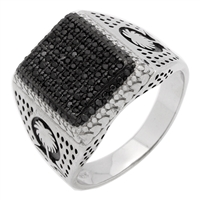 MMCR1001 SILVER MICROPAVE 16MMX13MM BLACK CZ MENS RING