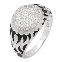 MMCR1002 SILVER MICROPAVE 13MM ROUND FLARE SIDE CZMENS RING