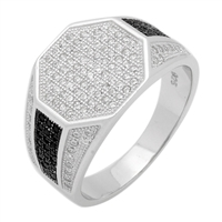 MMCR1006 SILVER MICROPAVE 14MM OCTAGON CZ MENS RING