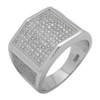 MMCR1007 SILVER MICROPAVE 15MM SQUARED ARC CZ MENS RING