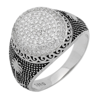 MMCR1008 SILVER MICROPAVE 16MM OVAL CZ MENS RING