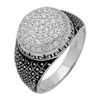 MMCR1009 SILVER MICROPAVE 14MM GREEK DESIGN CZ MENS RING