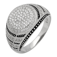 MMCR1011 SILVER MICROPAVE 15MM ROUND BLACK LINES CZ MENS RING