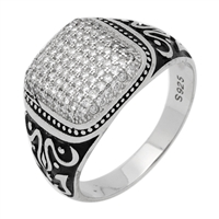 MMCR1012 SILVER MICROPAVE 15MM ROUND BLACK LINES CZ MENS RING