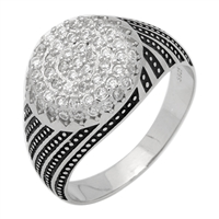 MMCR1014 SILVER MICROPAVE 14MM ROUND SPIRAL LINES CZ MENS RING