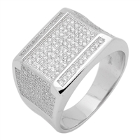 MMCR1016 SILVER MICROPAVE 15MM SQUARED CZ MENS RING