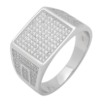 MMCR1017 SILVER MICROPAVE 13MM SQUARED CZ MENS RING