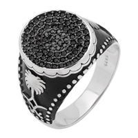MMCR1018 SILVER MICROPAVE 17MM OVAL CZ MENS RING