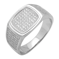 MMCR1019 SILVER MICROPAVE 13MM SQUARED CZ MENS RING