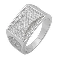 MMCR1020 SILVER MICROPAVE 12MM SQUARED CZ MENS RING