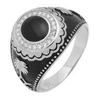 MMCR1021 SILVER MICROPAVE BLACK OVAL CZ MENS RING