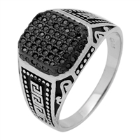 MMCR1022 SILVER MICROPAVE 14MM SQUARED GREEK CZ MENS RING