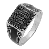 MMCR1023 SILVER MICROPAVE 12MM SQUARED CZ MENS RING