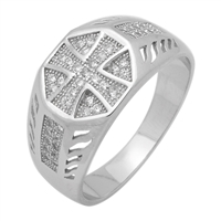 MMCR1024 SILVER MICROPAVE MALTESE CROSS CZ MENS RING
