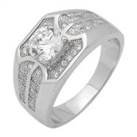 MMCR1025 SILVER MICROPAVE 7MM ROUND CENTER CLEAR CZ MENS RING