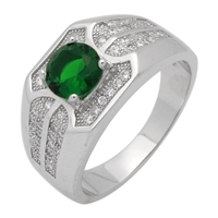 MMCR1026 SILVER MICROPAVE 7MM ROUND CENTER GREEN CZ MENS RING