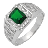 MMCR1028 SILVER MICROPAVE EMERALD CUT GREEN CZ MENS RING