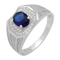 MMCR1031 SILVER MICROPAVE OVAL BLUE CZ MENS RING