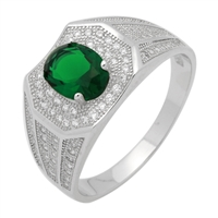 MMCR1032 SILVER MICROPAVE OVAL GREEN CZ MENS RING