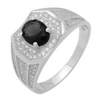 MMCR1033 SILVER MICROPAVE OVAL BLACK CZ MENS RING