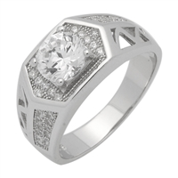 MMCR1034 SILVER MICROPAVE HEXAGON ROUND CLEAR CZ MENS RING