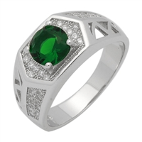 MMCR1035 SILVER MICROPAVE HEXAGON ROUND EMERALD CZ MENS RING