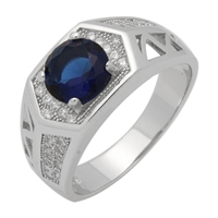 MMCR1036 SILVER MICROPAVE HEXAGON ROUND SAPPHIRE CZ MENS RING