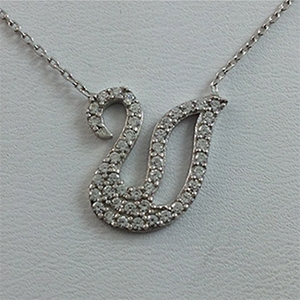 Silver Necklace with CZ - Swan - $8.80