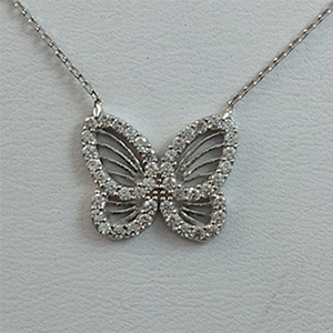 Silver Necklace with CZ - Butterfly - $8.80