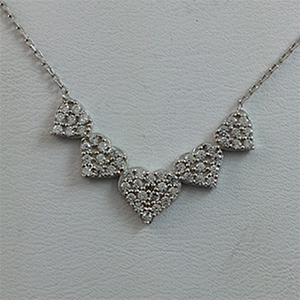 Silver Necklace with CZ - Hearts - $8.80