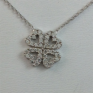 Silver Necklace with CZ - 4-Clover Leaf - $8.80