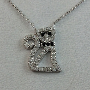 Silver Necklace with CZ - Cat - 8.80