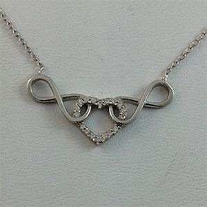 Silver Necklace with CZ - Infinity & Heart - $8.80