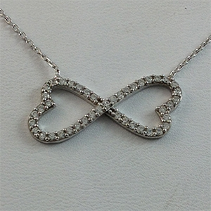 Silver Necklace with CZ - Heart-shaped Infinity - $8.80
