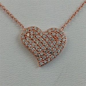Silver Necklace with CZ - Heart - $8.80