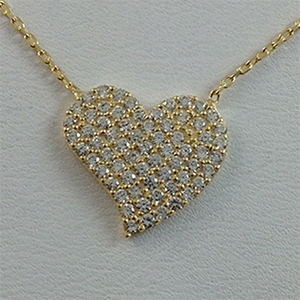 Silver Necklace with CZ - Heart