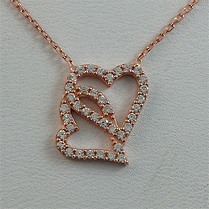 Silver Necklace with CZ - Two Hearts - $8.80