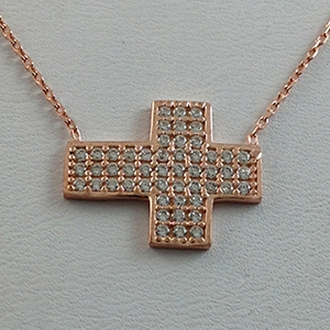 Silver Necklace with CZ - Sideway Wide Cross - $8.80