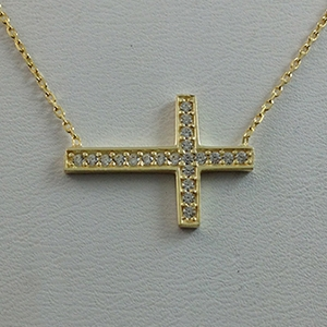 Silver Necklace with CZ -  Sideway Cross - $8.80
