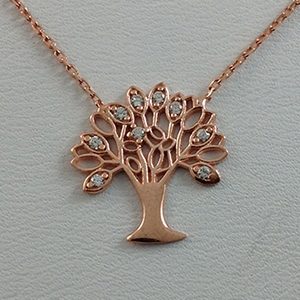 Silver Necklace with CZ - Tree of Live - $8.80