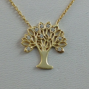 Silver Necklace with CZ - Tree of Life - $8.80
