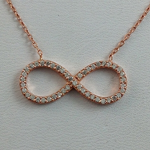 Silver Necklace with CZ - Infinity - $8.80