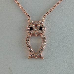 Silver Necklace with CZ - Owl - $8.80