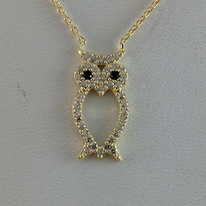 Silver Necklace with CZ - Owl