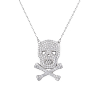 Silver Necklace with CZ - Skull