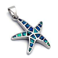 Silver Blue Opal Starfish Pendant 23mm